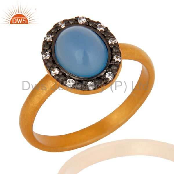 Natural Blue Chalcedony Gemstone 925 Sterling Silver Ring With 18K Gold Plated