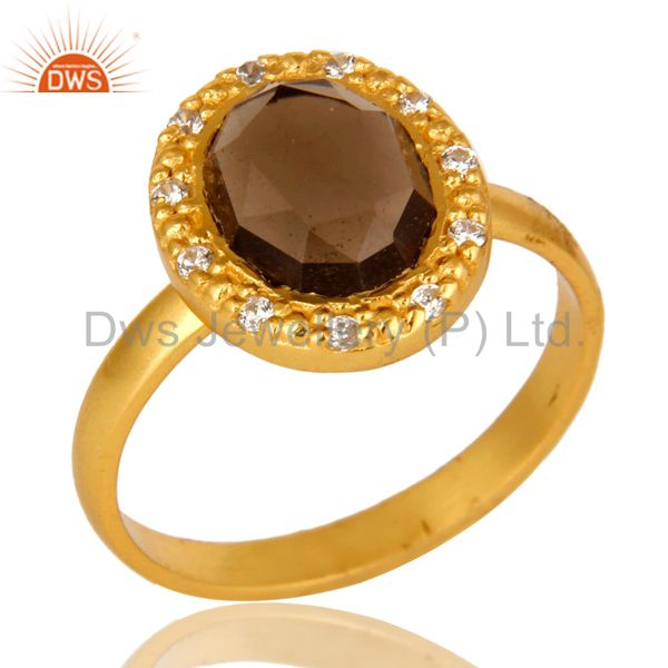 18K Gold Plated Sterling Silver Smoky Quartz And CZ Statement Ring