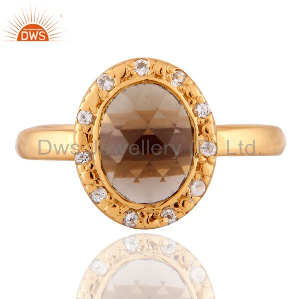 Stunning 24k Gold Plated Smoky Quartz 925 Sterling Silver White Zircon Ring
