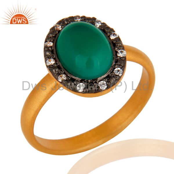 18K Yellow Gold Plated 925 Sterling Silver Green Onyx Gemstone Ring With CZ