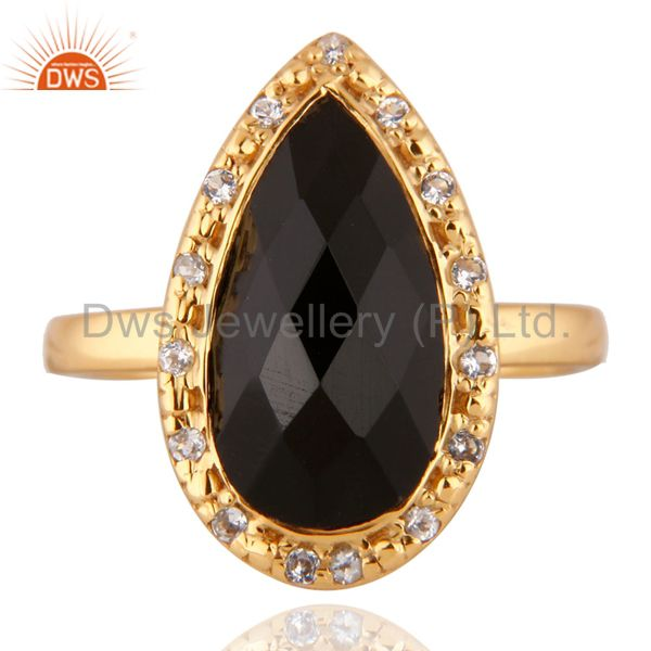 18k Gold Plated Black Onyx and Cubic Zirconia Sterling Silver Ring Size 6