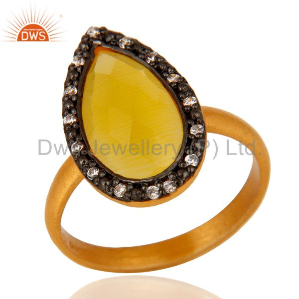 22K Gold Plated 925 Sterling Silver Yellow Moonstone Pear Shape Gemstone Ring
