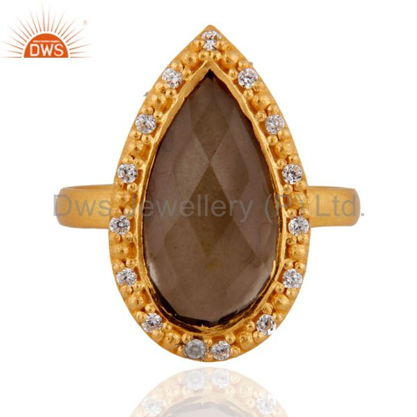 Smoky Quartz And Cubic Zirconia Sterling Silver Ring - Gold Plated
