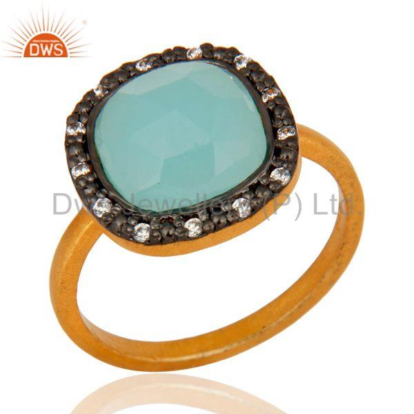 18K Gold Plated 925 Sterling Silver Blue Aqua Glass Gemstone Ring With Zircon