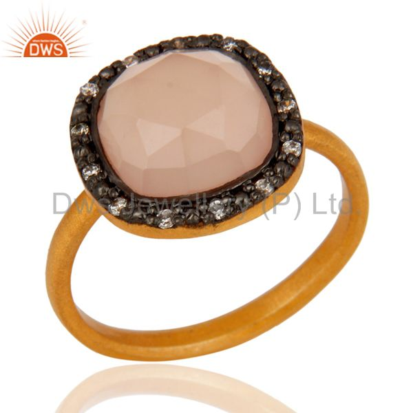 Rose Chalcedony Faceted Gemstone Ring in 18kt Gold Plated Over Sterling Silver