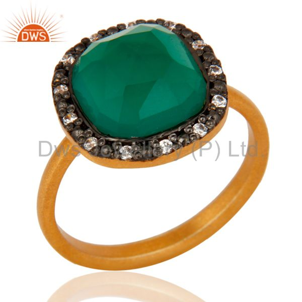 Gold Plated Sterling Silver Green Onyx Checkerboard Cut Gemstone Ring With CZ