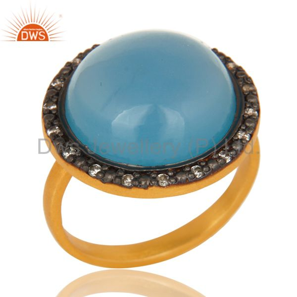 18K Yellow Gold Plated Sterling Silver Blue Chalcedony Cocktail Ring With CZ