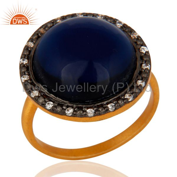 18K Gold Plated Sterling Silver Blue Corundum Gemstone Designer Ring With CZ