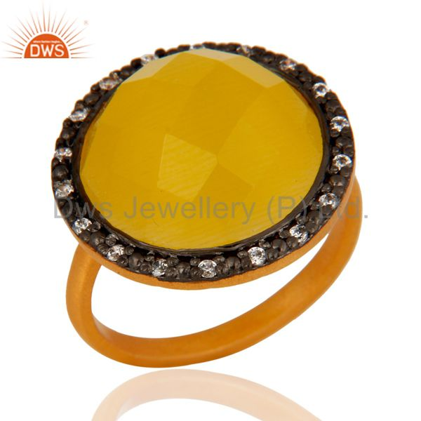 Genuine Yellow Moonstone Faceted Gemstone Ring Made In 18K Gold Over 925 Silver