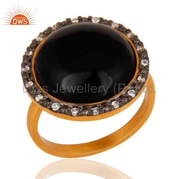 24K Gold Plated Sterling Silver Black Onyx Gemstone Handmade Designer Ring W/ CZ