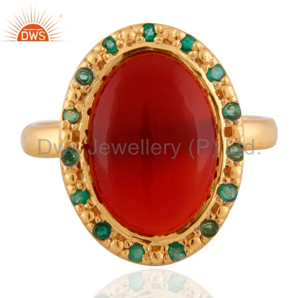 24K Gold Plated Red Onyx Semi Precious Stone 925 Sterling Silver Emerald Ring