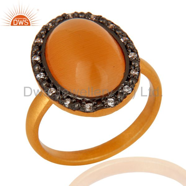925 Sterling Silver Natural Peach Moonstone 24k Gold Plated Gemstone Ring