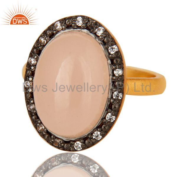 18K Gold Plated Sterling Silver Rose Chalcedony And CZ Statement Stacking Ring
