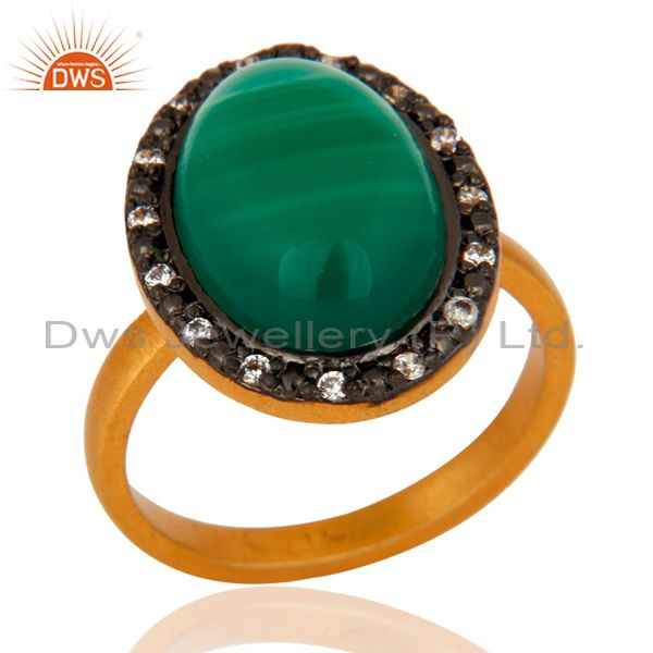 Handmade Green Onyx Cabochon Gemstone 925 Sterling Silver 24k Gold Plated Ring