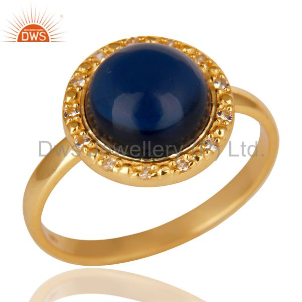 18K Gold Plated 925 Sterling Silver Blue Corrundum & White Topaz Cocktail Ring
