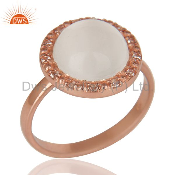 18K Rose Gold Plated Sterling Silver Moonstone & White Topaz Cocktail Ring
