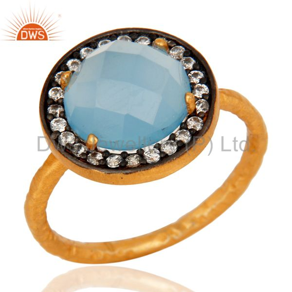 Aqua Blue Chalcedony Ring With CZ Made In 18K Gold Over Sterling Silver Jewelry