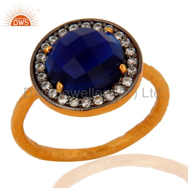 Handmade Blue Corundum Gemstone 925 Sterling Silver Gold Plated Stack Ring