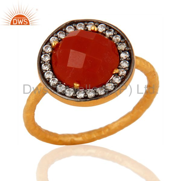 925 Sterling Silver Red Onyx Gemstone 22K Gold Plated Handmade Hammered Ring