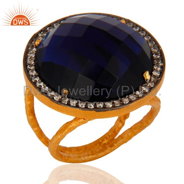 Handmade 925 Sterling Silver 24K Gold Plated Blue Corundum Designer Ring With CZ