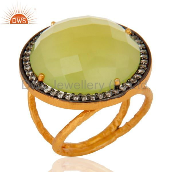 Natural Prehnite Chalcedony Faceted Gemstone Ring Made in 18K Gold On 925 Silver