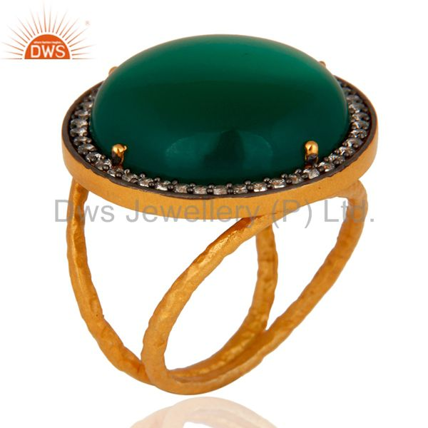 Handmade Natural Green Onyx Gemstone Ring Made In 22K Gold Plated 925 Silver