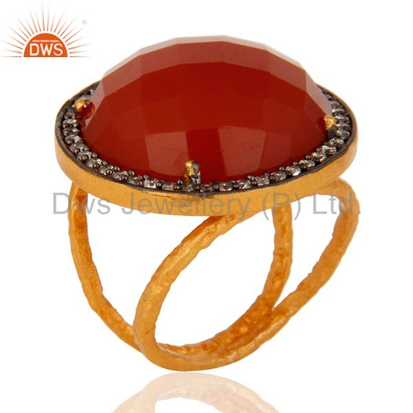 22K Yellow Gold Plated Red Onyx Gemstone Prong Set Sterling Silver Ring With CZ