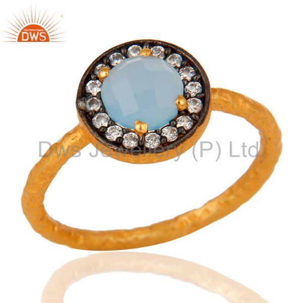 Gold Plated 925 Sterling Silver Blue Chalcedony Gemstone Stacking Ring With CZ