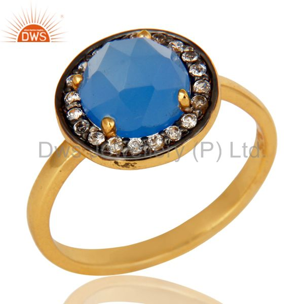 14K Yellow Gold Plated Sterling SIlver Blue Chalcedony Stack Ring With CZ