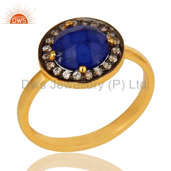 Shiny 18K Yellow Gold Plated Sterling Silver Lapis Lazuli And CZ Stacking Ring