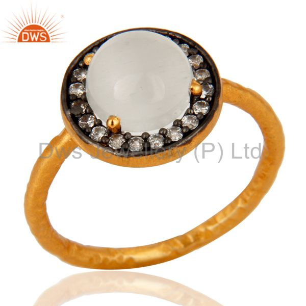 18K Yellow Gold Plated On Sterling Silver White Moonstone Stacking Ring With CZ