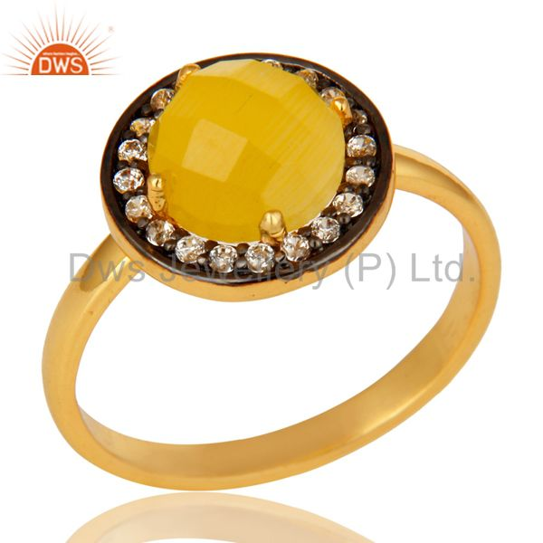 Stunning 14K Gold Plated Sterling Silver Yellow Moonstone Stone Stackable Ring