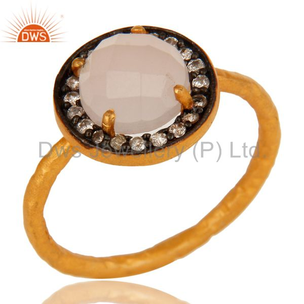 14K Gold Over Sterling Silver Yellow Moonstone And CZ Hammered Stack Ring