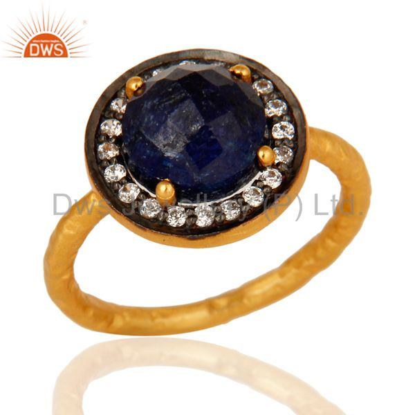925 Sterling Silver Blue Corundum Ring With CZ - Yellow Gold Plated
