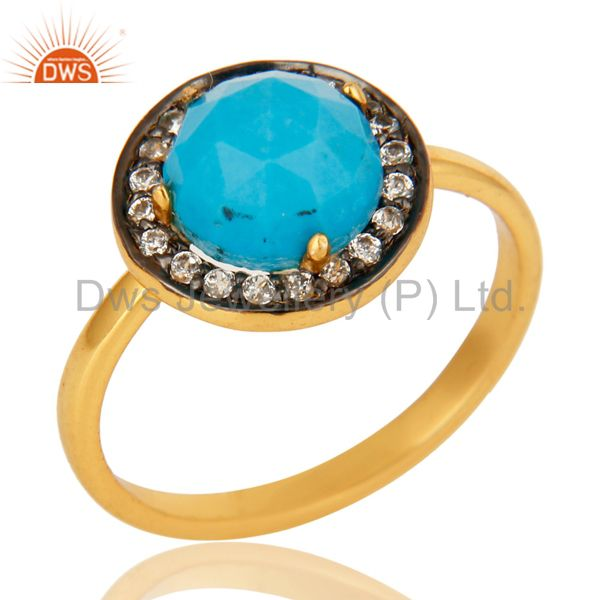 Shiny 18K Yellow Gold Plated Sterling Silver Turquoise And CZ Stackable Ring