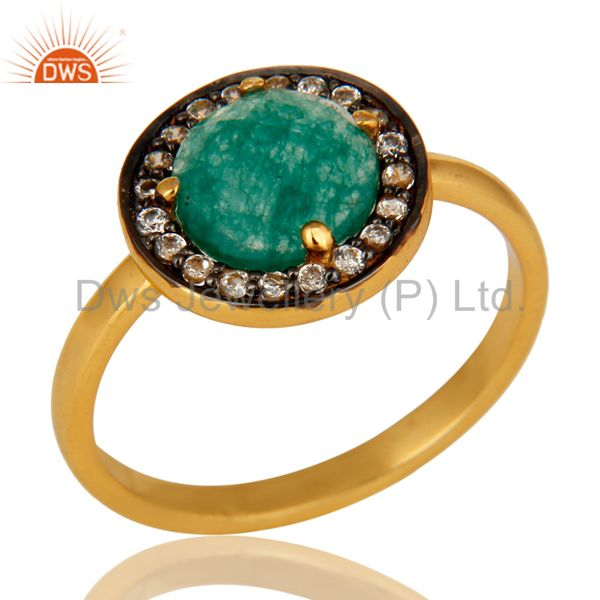Green Aventurine And CZ Stunning 14K Yellow Gold Plated Sterling Silver Ring