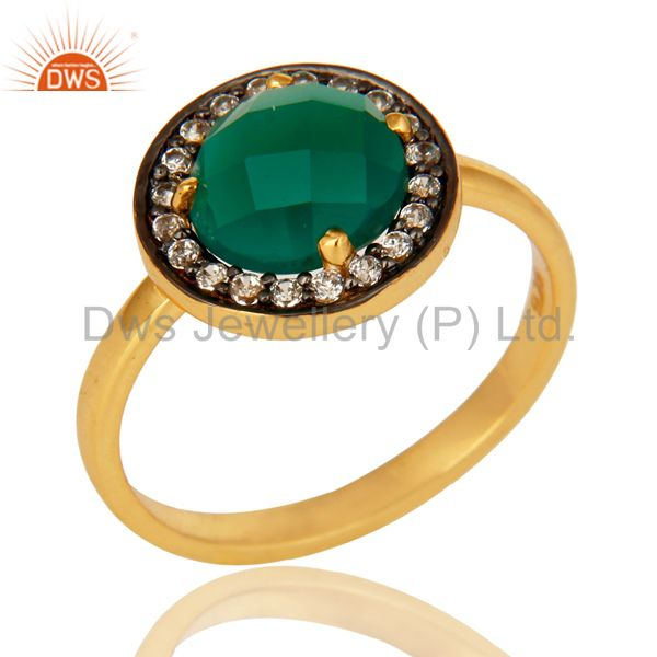 14K Yellow Gold Plated Sterling Silver Green Onyx Stone Stackable Ring With CZ