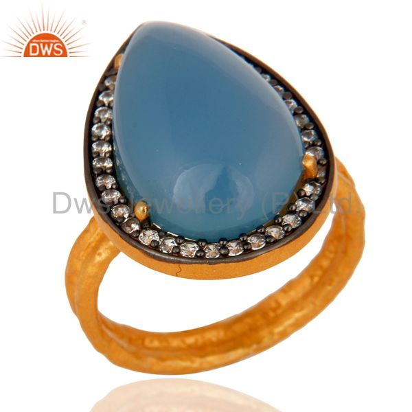 Handmade Blue Chalcedony Gold Plated Sterling Silver Prong Set Gemstone Ring