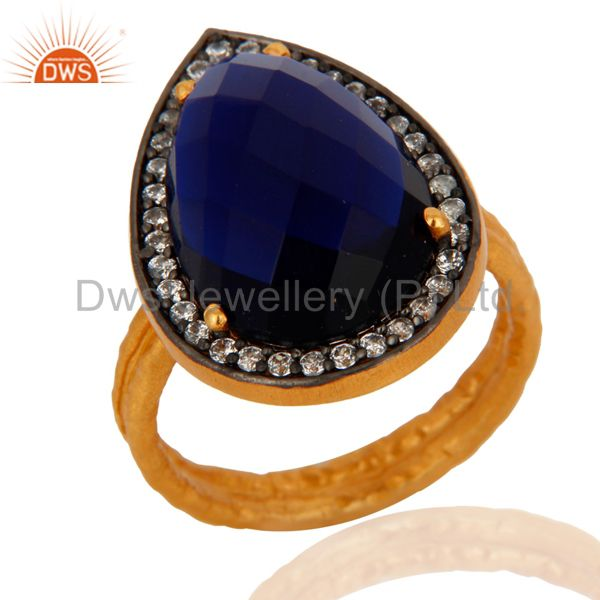 18k Gold Over Sterling Silver Created Blue Sapphire Two Stack Hammered Band Ring