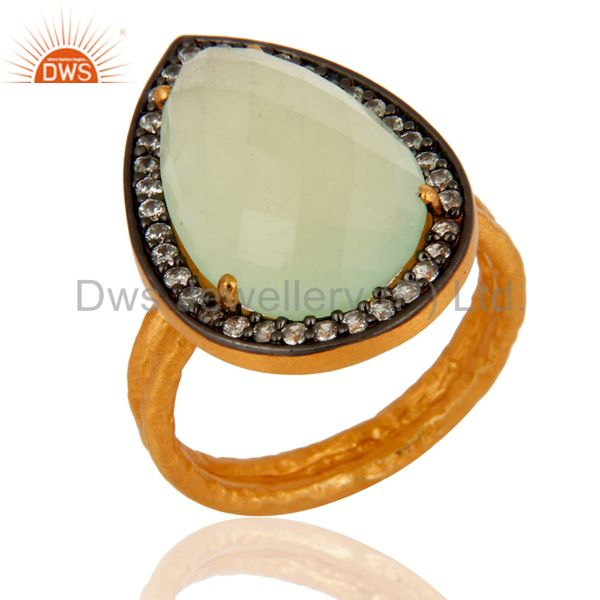 Handmade Designer 24K Gold Plated 925 Sterling Silver Chalcedony Gemstone Ring