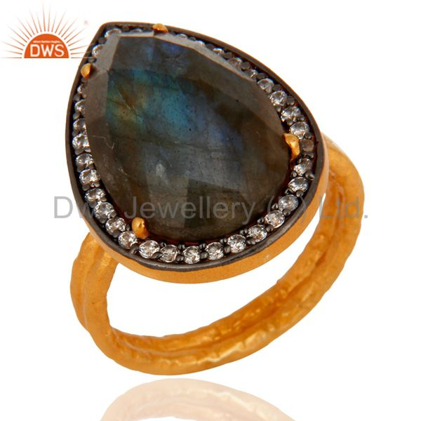 Natural Labradorite Gemstone Ring Made In 18K Gold Over 925 Sterling Silver
