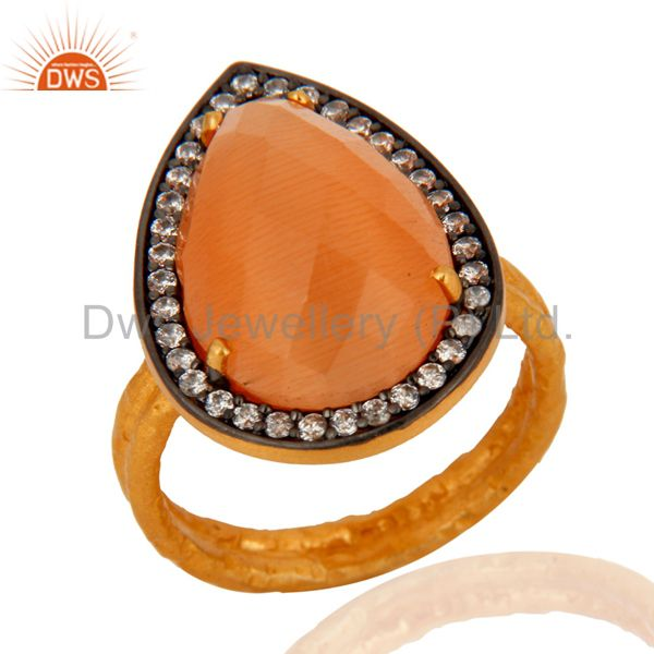 18K Yellow Gold Over 925 Sterling Silver Peach Moonstone Designer Ring With CZ