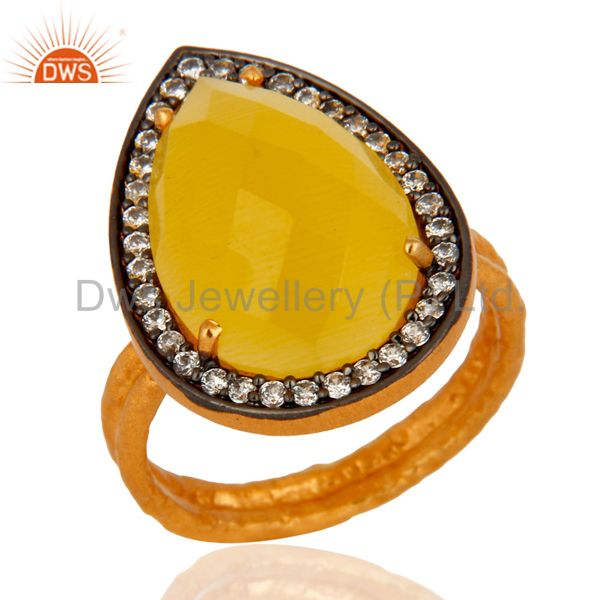 18k Gold Plated 925 Sterling Silver Yellow Moonstone Prong Set Designer Ring