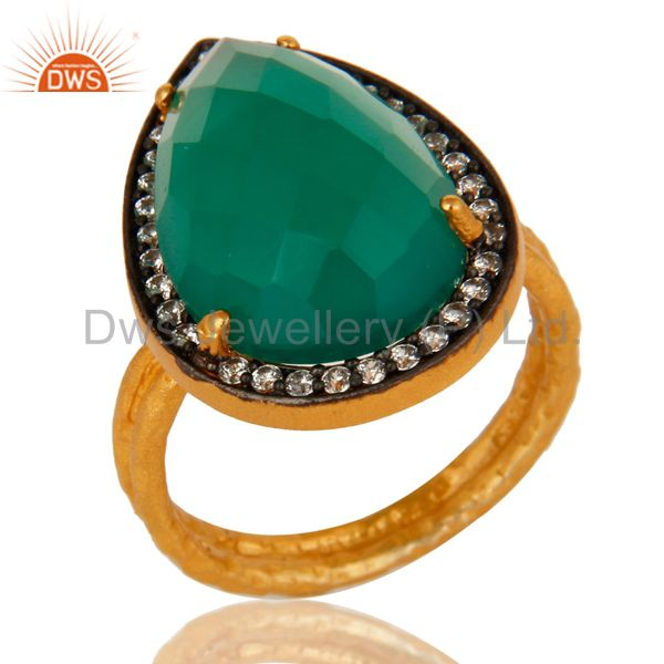 18k Gold Plated Sterling Silver Prong Set Green Onyx Gemstone Ring With CZ