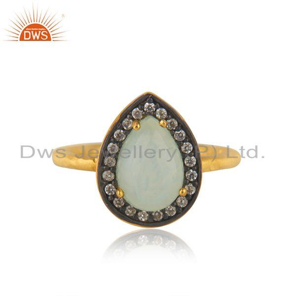 Aqua Chalcedony Gemstone 925 Silver Yellow Gold Plated Ring Manufacturer India