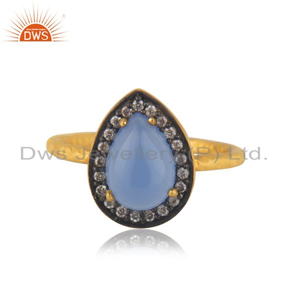 18K Gold Over 925 Sterling Silver Blue Chalcedony Gemstone & White Zircon Ring