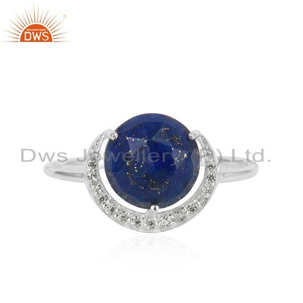 Designer pave half moon lapis cz ring in silver 925