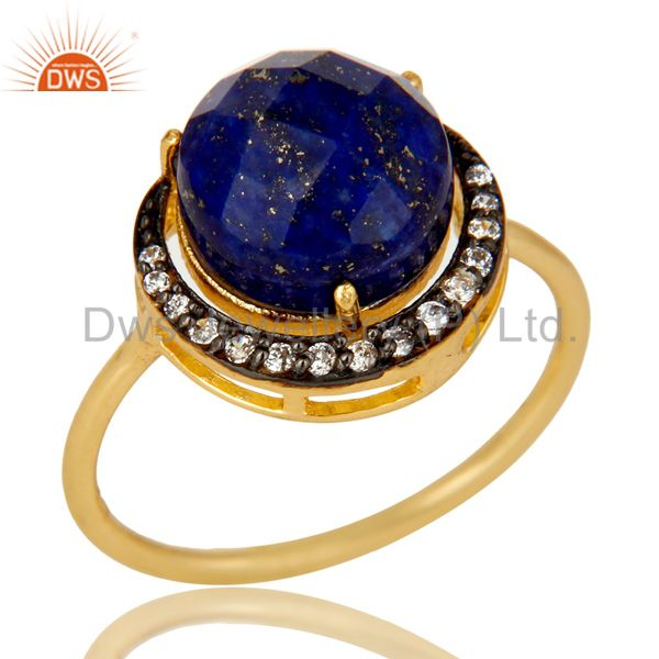 14K Yellow Gold Plated Sterling Silver  Lapis Lazuli And CZ Half Moon Stack Ring