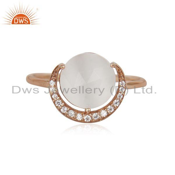 Half Moon Design Rose Gold Plated 925 Silver White Moonstone Ring