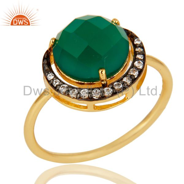 Green Aventurine 14K Gold Plated Sterling Silver Half Moon Stackable Ring With C